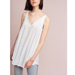 Meadow Rue Pleated V-Neck Tunic Top Anthropologie